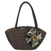 ウォーターヒヤシンスのカゴバッグ スカーフ 花リボン こげ茶革編み ショルダーバッグ アジアン雑貨 バリ雑貨 タイ雑貨 エスニック