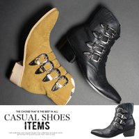 2016年秋の新作入荷。革靴で使用される本革スエードを再現した秋冬におススメのメンズ ハイヒールウエ...