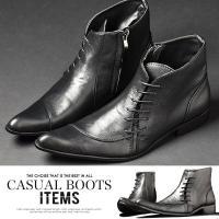 革靴で使用される本革を再現したオススメのメンズ ショートブーツ。ディティールを生かしたラインがおしゃ...