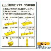 正しい玉掛用ワイヤーロープの掛け方  表示板 図入り ○サイズ 1200×900mm ○材質   木...