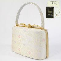 草履バッグセット -8- 草履 バッグ セット 礼装 Mサイズ 紗織 日本製 白 金 銀 七宝
