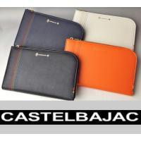 カステルバジャックの6色イメージカラーをステッチで表現したクラッチバッグ サイズS。 素材にはサフィ...