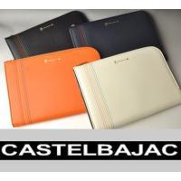 カステルバジャックの6色イメージカラーをステッチで表現したクラッチバッグ サイズM。 素材にはサフィ...