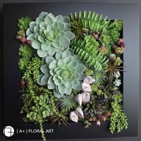 インテリアグリーン ブラックフレームアレンジ ボタニカル Lサイズ / フェイクグリーン ウォールデコ インテリア 造花 壁掛け アート オブジェ 多肉植物