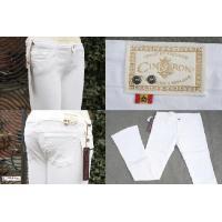 【送料無料】新品 CIMARRON シマロン コットン ストレッチ パンツ ジーンズ サブリナ スペイン製 ホワイト 白 S−147
