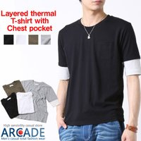 【コメント】 ベーシックなクルーネックのTシャツに5分袖部分がサーマル素材のレイヤード風スタイル。胸...