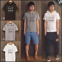 [商品説明] シンプルなロゴ入り半袖パーカー★ 生地はTシャツと同じくらいの薄さです!! 春先は上に...