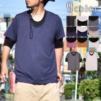[商品説明] 五分袖フェイクレイヤードTシャツ。 一枚で重ね着コーデを作れる、フェイクレイヤードデザ...