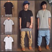 [商品説明] フェイクレイヤードボーダーTシャツ。 一枚で重ね着スタイルが決まるオシャレアイテム。 ...
