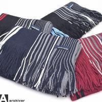 [商品説明] ラッセルストライプマフラー。 ラッセル編みのストライプマフラー。 大人らしい落ち着いた...