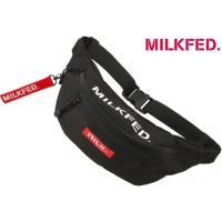 ミルクフェド MILKFED. 上部にロゴプリントのウエストバッグ。引手に取り外し可能なロゴベルト付...