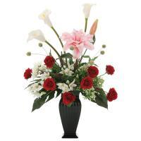 アレンジフラワー 光触媒 観葉植物 インテリア 人気 おしゃれ 造花 ギフト お祝い 花 グレースカサブランカ フラワーギフト 誕生日 母の日