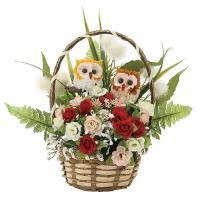 アレンジフラワー 光触媒 観葉植物 インテリア 人気 おしゃれ 造花 ギフト お祝い 花 ペアフクロウR フラワーギフト 誕生日 母の日