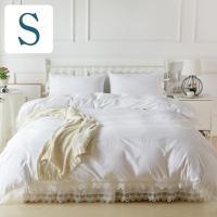 シンプルホワイトにアンティーク風のベッドカバーセットです。 ベッドスプレッド(ベッドカバー)、ピロー...