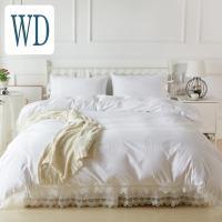 シンプルホワイトにアンティーク風のベッドカバーセットです。 ベッドスプレッドピローケース(枕カバー)...