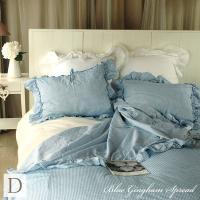 【ブルーギンガムベッドスプレッド/ダブルサイズ】    ブルーのギンガムチェックのベッドスプレッド ...