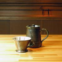 【陶器コーヒーポット&ドリッパーセット・茶】  陶芸家さんが作った、手作りのコーヒードリッパーセット...