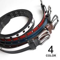 ツートーンのライン配色が印象的なPUレザーベルト。ダブルのピンとホールが注目のポイント。35mm幅で...