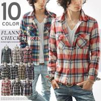 チェックシャツ メンズ 長袖シャツ ネルシャツ カジュアルシャツ  ●サイズ/cm [M] 着丈:6...