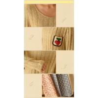 ニット切替 重ね着風ワンピース フリル裾 刺繍さくらんぼポケット 森ガール 2色