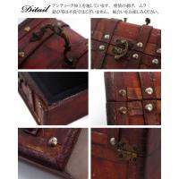 アンティーク トランク  木製 コレクションケース Tresure Box 腕時計ケース トレジャーボックス 木箱 収納|asobi|04