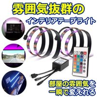 LEDテープライト 50CM 2本セット テレビ PC照明 間接照明 リモコン付き USB接続 疲れ目に効く カラフル 防水 STOROBETV