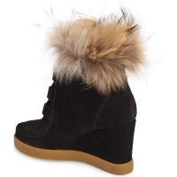セセリアニューヨーク ブーツ&レインブーツ シューズ レディース Cecelia New York Holly Wedge Bootie with Genuine Fox Fur Trim (Women) Black Suede