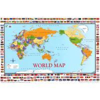世界地図のポスター。国旗も載っているのであわせて覚えましょう。  国旗の下には国名が記載されています...