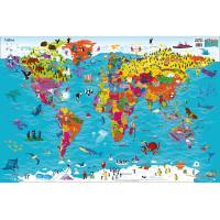 英語版の大きな世界地図。 地域独自の動植物や文化が美しいイラストで描かれています。   (紙製/61...