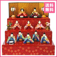 【2018年度新作雛人形】 コンパクトながら、華やかさあふれる十人飾りです。雛人形というと、通常左に...