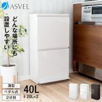 ゴミ箱 キッチン 分別 2段 ワイド 40リットル ペダル アスベル ASVEL おしゃれ 2分別 縦型 40l 40L 大容量 ワゴン 蓋付き 資源ゴミ ごみ箱