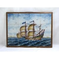 ● イタリア製のレトロなタイル絵です。 ● 荒波にもまれながらも前へと進む帆船の絵が多彩な表現と色彩...