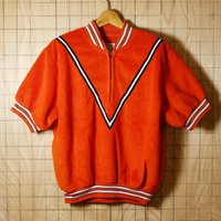 Wilson/60sUSAビンテージ古着オレンジハーフジップ半袖フリース/サイズ44です。  196...