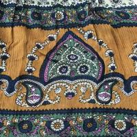 フラワー ペーズリー エスニック ミニスカート〈マスタード&グリーン〉 アジアン衣料 楊柳 レーヨン100%【送料無料】 インド製 オーバースカート 水着の上に!