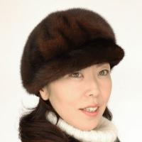 帽子 毛皮 ミンクのキャスケット2051型◇ブラウン