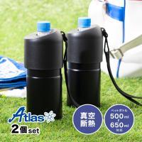 ペットボトルホルダー 真空 保冷 ステンレス ボトルインボトル ストラップ付ブラック2個セット 500ml~650mlサイズ用 ボトルクーラー ABIB-BBK2P