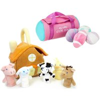 おうち型 バッグ 付き 動物 指人形 セット おもちゃ ベビー 出産祝い プレゼント atmack