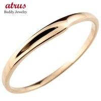 ピンキーリング 18金 レディース 地金 シンプル ピンクゴールドk18 18k 極細 華奢 指輪 送料無料