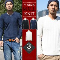 ■商品名ニット メンズ モール Vネック セーター ■サイズM/L/XL ■カラーBLACK/OFF...
