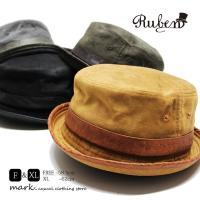 RUBEN /ルーベン 大きいサイズ対応 FAKE SUEDE PORKPIE HAT フェイクスエード ポークパイハット  メンズ レディース ハット HAT 帽子 フリーサイズ 大きい ビッ