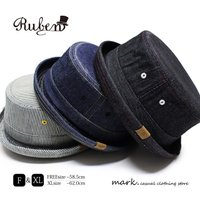 RUBEN/ルーベン DENIM PORK PIE HAT デニム ポークパイハットメンズ レディース 帽子 サイズ調節付/XL