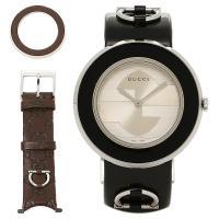 グッチ 時計 レディース GUCCI 腕時計 Uプレイ カーフ革 シルバー/ブラック ウォッチ  G...