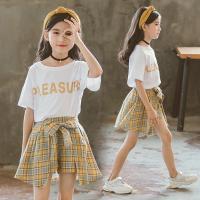 子供服 セットアップ 夏 韓国子供服 女の子 ジュニア キッズ 上下セット 2点セット 半袖 Tシャツ ミニスカート チェック柄 可愛い おしゃれ 通学着 通園着