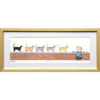 絵画/ダイアン パターソン キャット ウォーク/インテリア 壁掛け 壁飾り 額入り アート リビング 玄関 トイレ プレゼント ギフト おしゃれ 飾る ポスター 猫