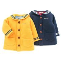セーラー衿がオシャレでかわいいコートは、元気カラーのカラシと定番のネイビーの2色展開☆表はフリース素...