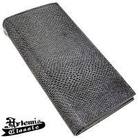 リザード型押し革を使い、金具を最小限に抑えたシンプルデザイン。 黒とグレーの色合い、艶やかな質感も良...