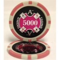 QuattroAssi クアトロアッシーポーカーチップ (5000)桃 25枚セット -カジノチップ、ポーカーチップ
