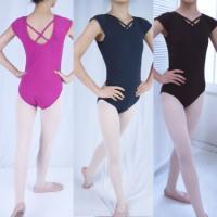 バレエ、ダンスレッスンに。クロスストラップデザインがおしゃれなフレンチ袖のレオタードです。ジュニア〜...