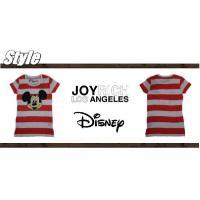 【ジョイリッチ×ディズニー】JOYRICH×Disney レディース Mickey Face Stripe Tee 半袖 Tシャツ