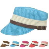 飾りベルトがアクセント、柔らかく仕上げたワークキャップ風麦わら帽子・ストローハット。メンズ、レディー...